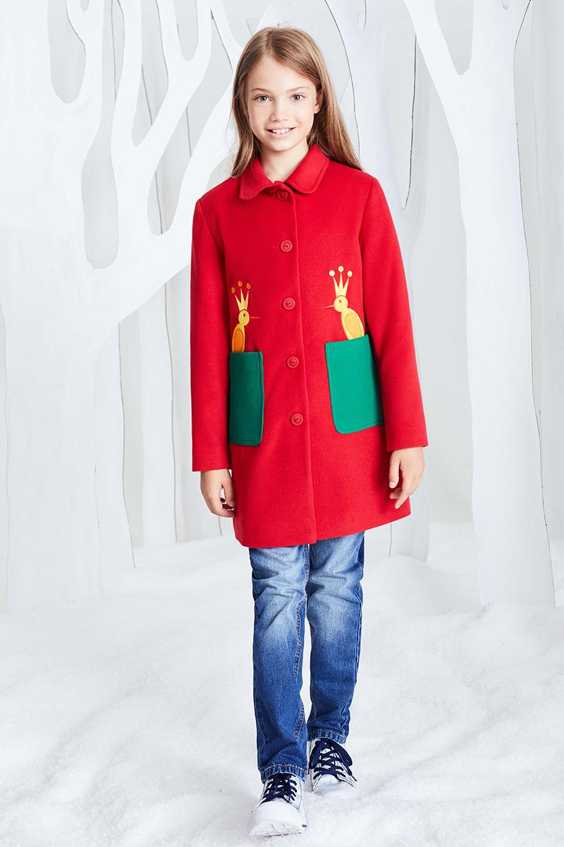 Пальто для девочки Смена, цвет: красный. 16с215. Размер 128/13416с215Пальто из смесовый вискозы А-силуэта с отложным скругленным воротником и длинными втачными рукавами. Дополнено накладными боковыми карманами и декоративной вышивкой.