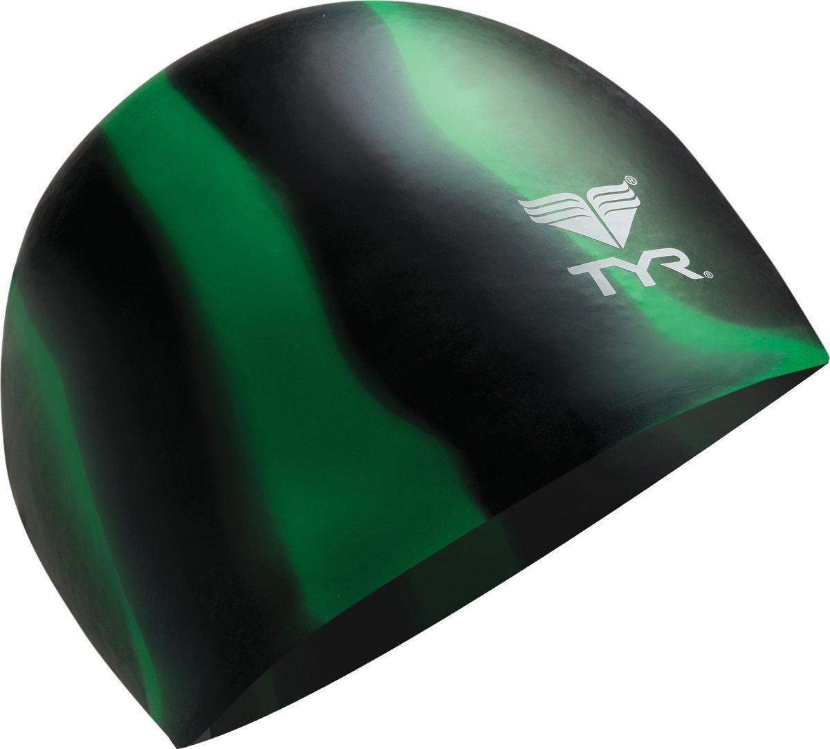 Шапочка для плавания Tyr Multi Silicone Cap, цвет: черный, зеленый. LCSMLCSMРазноцветная силиконовая шапочка TYR – изготовлена из высококачественного материала устойчивого к воздействию хлорированной воды, что гарантирует долгий срок службы. Материал шапочки не вызывает раздражения кожи и других аллергических реакций. Прекрасный вариант для тренировок в бассейне.