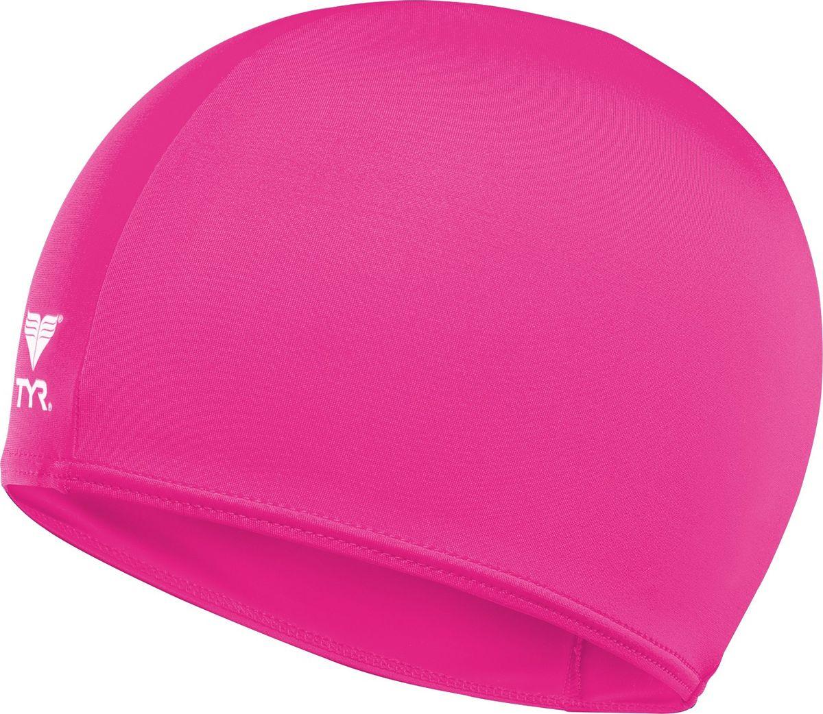 Шапочка для плавания Tyr Solid Lycra Cap, цвет: розовый. LCY шапочка для плавания arena polyester  цвет  темно синий