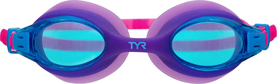 Очки для плавания Tyr Big Swimple, цвет: светло-лиловый. LGBSWLGBSWОчки для плавания TYR Big Swimple подходят для профессиональных и любительских тренировок. Мягкий, гипоаллергенный, силиконовый уплотнитель обеспечивает максимальный комфорт при длительных нагрузках и водонепроницаемость, а монолитная конструкция гарантирует прочность очков для плавания. Силиконовый ремешок дает возможность максимально удобно настроить очки. Литая переносица автоматически подстроится под индивидуальные параметры лица. Линзы обработаны раствором антифог.