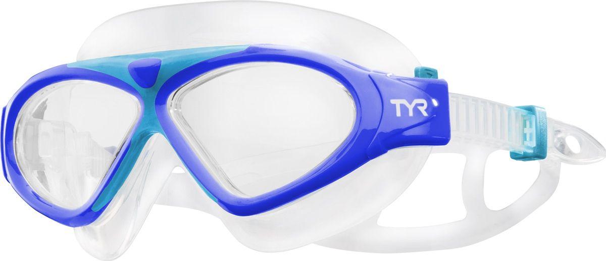 Маска для плавания детская TYR Junior Magna Swim Mask, цвет: синий, голубой. LGMSMJLGMSMJДетская маска Tyr Junior Magna Swim Mask отлично подойдет как для занятий спортом и отдыхом на открытой воде, так и для тренировок в бассейне. Широкие линзы обеспечивают четкий обзор под водой и защитят от ультрафиолетовых лучей. Уплотнитель и ремешок изготовленные из силикона, обеспечивают комфортную и удобную посадку маски. Легкая настройка маски позволит подобрать нужный вам размер.