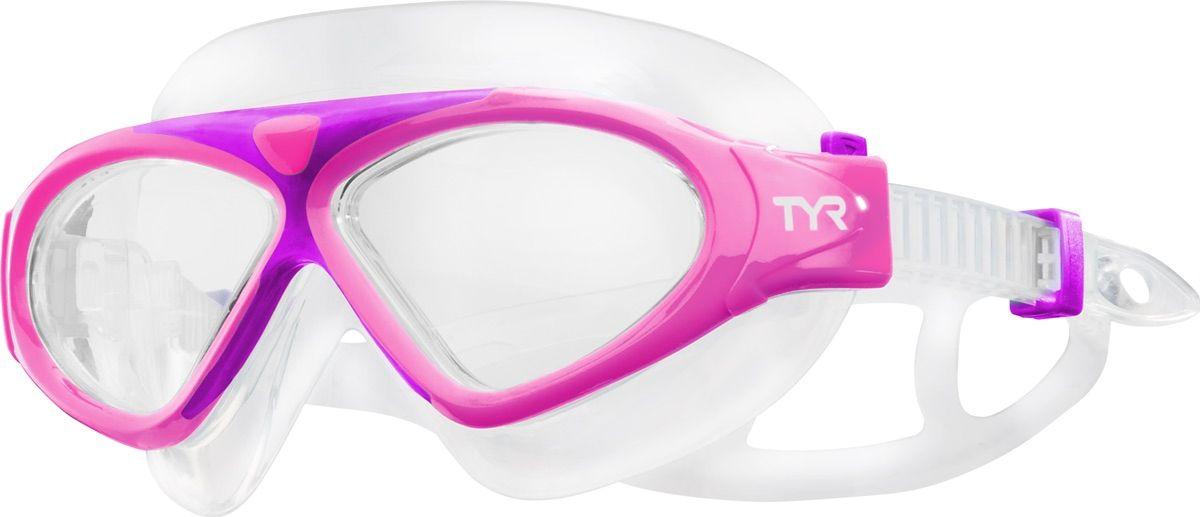 Маска для плавания детская Tyr Junior Magna Swim Mask, цвет: розовый. LGMSMJLGMSMJДетская маска TYR Magna Swim Mask отлично подойдет как для занятий спортом и отдыхом на открытой воде, так и для тренировок в бассейне. Широкие линзы обеспечивают четкий обзор под водой и защитят от ультрафиолетовых лучей. Уплотнитель и ремешок изготовленные из силикона, обеспечивают комфортную и удобную посадку маски. Легкая настройка маски позволит подобрать нужный вам размер.