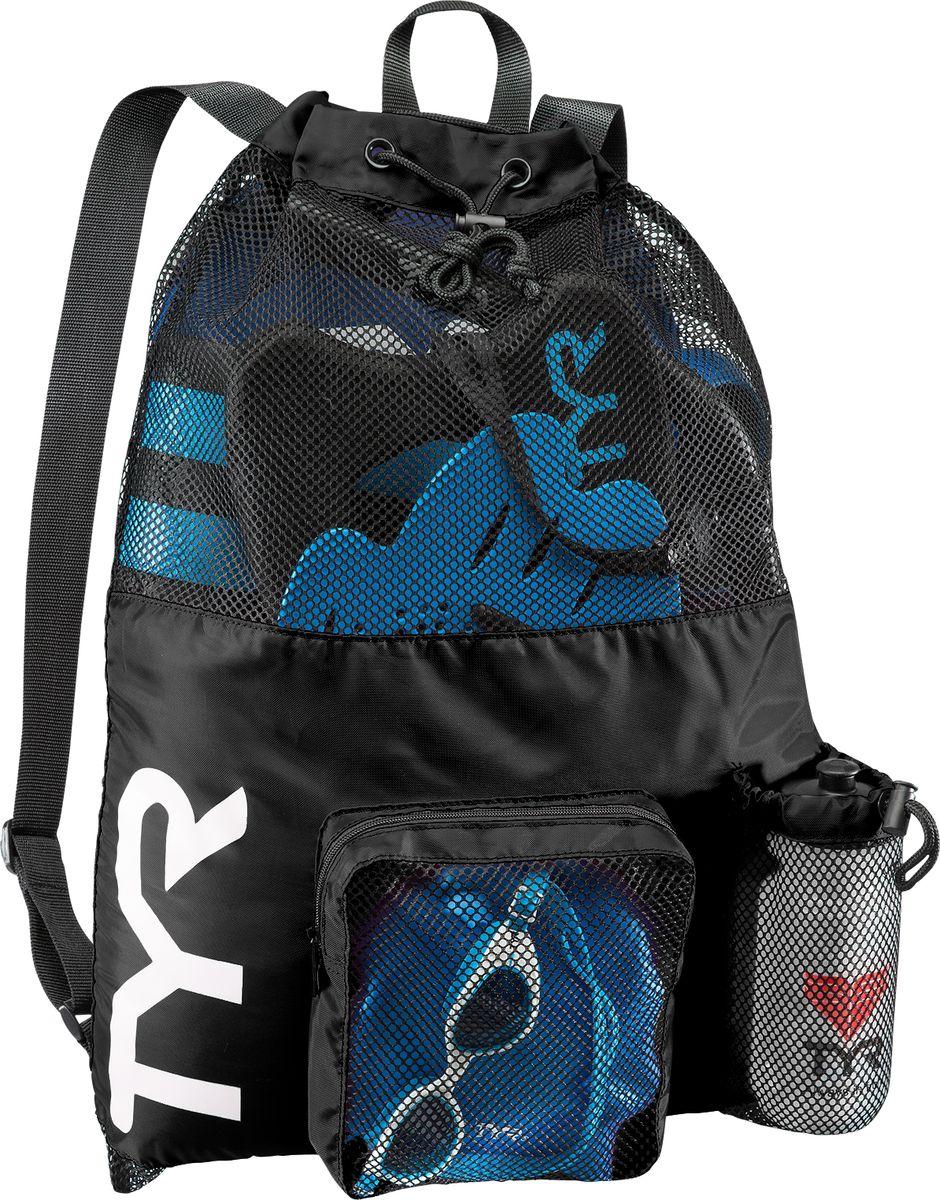 Рюкзак для аксессуаров Tyr Big Mesh Mummy Backpack, цвет: черный. LBMMB3LBMMB3Рюкзак TYR является идеальным выбором для транспортировки влажной плавательной экипировки. Его очень комфортно носить на спине благодаря удобным лямкам и сетчатой проветриваемой поверхности. Мешок сделан из легкого и прочного материала, который обеспечивает долгий срок службы. Мешок имеет боковой карман на молнии и карман для бутылки. Благодаря устойчивости к влаге можно брать с собой как в бассейн, так и на пляж.
