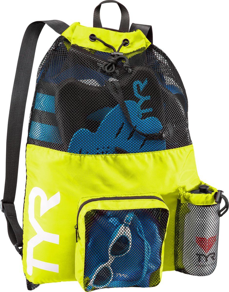 Рюкзак для аксессуаров Tyr Big Mesh Mummy Backpack, цвет: светло-желтый, синий. LBMMB3LBMMB3Рюкзак TYR является идеальным выбором для транспортировки влажной плавательной экипировки. Его очень комфортно носить на спине благодаря удобным лямкам и сетчатой проветриваемой поверхности. Мешок сделан из легкого и прочного материала, который обеспечивает долгий срок службы. Мешок имеет боковой карман на молнии и карман для бутылки. Благодаря устойчивости к влаге можно брать с собой как в бассейн, так и на пляж.