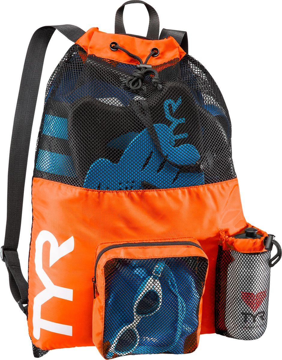 Рюкзак для аксессуаров Tyr Big Mesh Mummy Backpack, цвет: оранжевый, синий. LBMMB3LBMMB3Мешок TYR является идеальным выбором для транспортировки влажной плавательной экипировки. Его очень комфортно носить на спине благодаря удобным лямкам и сетчатой проветриваемой поверхности. Мешок сделан из легкого и прочного материала, который обеспечивает долгий срок службы. Мешок имеет боковой карман на молнии и карман для бутылки. Благодаря устойчивости к влаге можно брать с собой как в бассейн, так и на пляж.Размеры: 64 см х 48 смОбъем: 40 литров