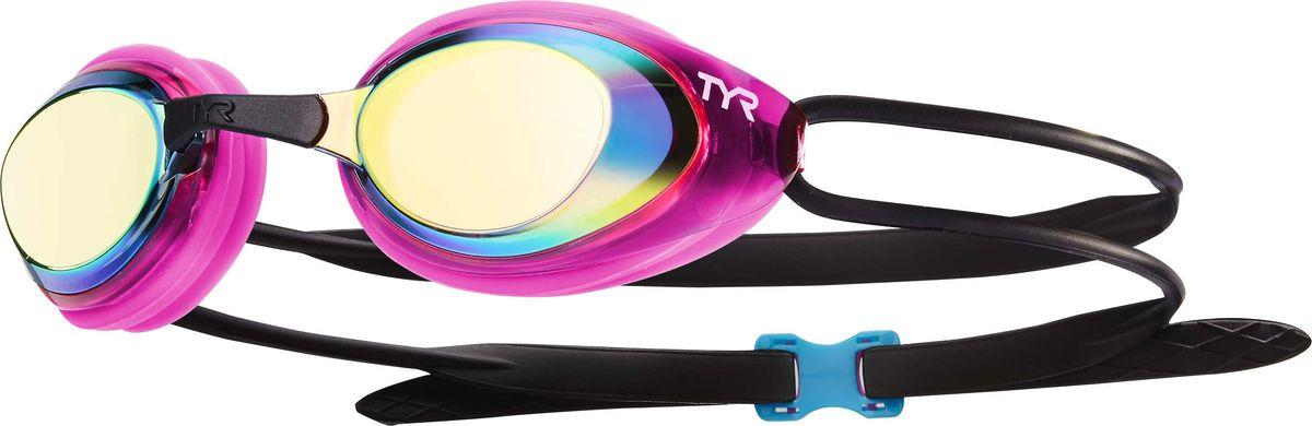 Очки для плавания Tyr Black Hawk Racing Femme Mirrored, цвет: золотой, розовый, черный. LGBHFMLGBHFMОчки TYR Blackhawk Racing Mirrored с зеркальными линзами разработаны для соревнований, но подойдут и для тренировок. Узкий профиль очков TYR Blackhawk - обеспечивает плотное прилегание и минимальное сопротивление в воде. Легкая, обтекаемая, водонепроницаемая конструкция этих очков, включает фирменный силиконовый уплотнитель TYR Durafit. Линзы обладают широким спектром периферического зрения, ни что не ускользнет от Вашего взгляда. Также в комплекте идут 5 сменных переносиц разного размера. Линзы обработаны раствором антифог