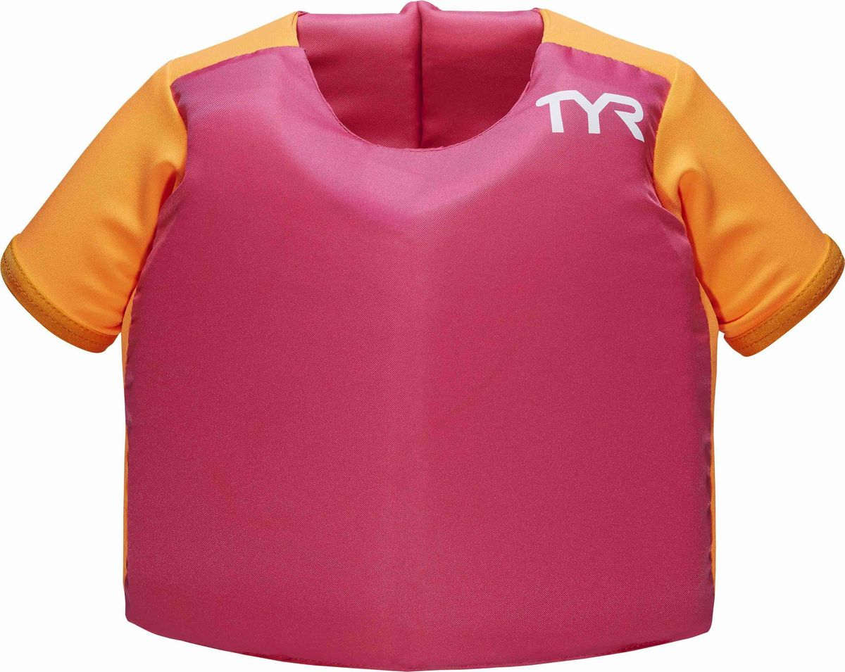 Жилет для плавания Tyr Kids Flotation Shirt, цвет: розовый. LSTSSRTELSTSSRTEЖилет для плавания с рукавами TYR выполнен из нейлона и поливинилхлорида. Рукава обеспечивают дополнительную фиксацию, при этом не сковывая движений. Кроме того, рукава служат дополнительным барьером от солнечных лучей, так как сделаны из солнцезащитной ткани с максимальным фактором защиты. Жилет удобен и прост в использовании. Двойной ремешок, фиксирующийся на спине, обеспечит надежную фиксацию. С помощью жилета ваш ребенок сможет развить: правильное положение тела в воде, чувство уверенности в бассейне и на открытой воде, правильную технику плавания. Рекомендовано для обучения плаванию детей в присутствии взрослых.