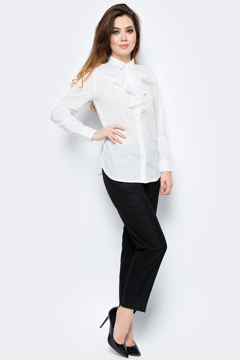 Рубашка женская United Colors of Benetton, цвет: белый. 5ZW15Q865_101. Размер L (46/48)5ZW15Q865_101Рубашка женская United Colors of Benetton выполнена из натурального хлопка. Модель с отложным воротником застёгивается на пуговицы.