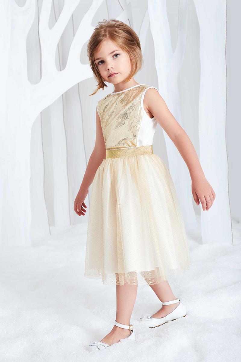 Юбка для девочки Смена, цвет: золотистый. 16с232. Размер 104/11016с232Пышная юбка для торжественных случаев из золотистой металлизированной сетки на подкладке из хлопка, с поясом из резинки с люрексом.