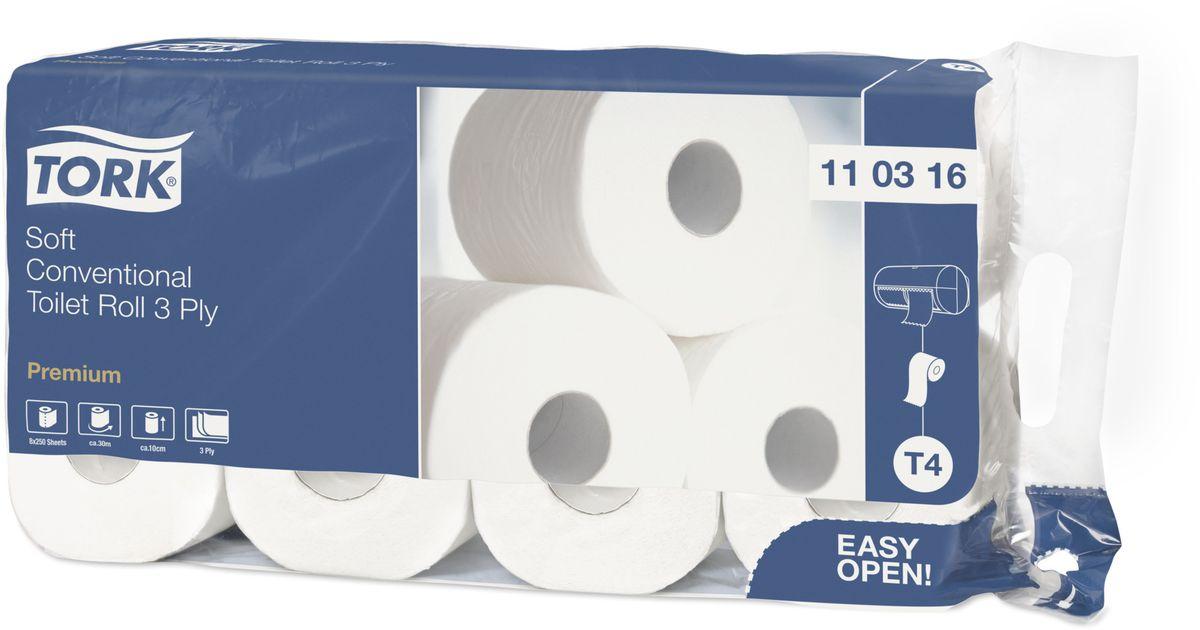 Бумага туалетная Tork, ультрамягкая, трехслойная, 8 рулонов110316Мягкая туалетная бумага Tork в стандартных рулонах обеспечит вашим гостям домашний комфорт вдали от дома.
