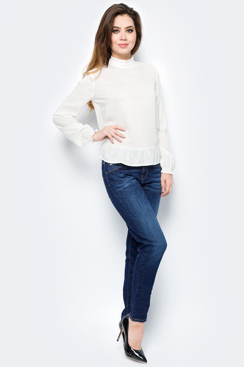 Блузка женская United Colors of Benetton, цвет: белый. 5TD45Q823_036. Размер XS (40/42)5TD45Q823_036Женская блузка выполнена из модала. Модель с воротником стойкой и длинными рукавами.