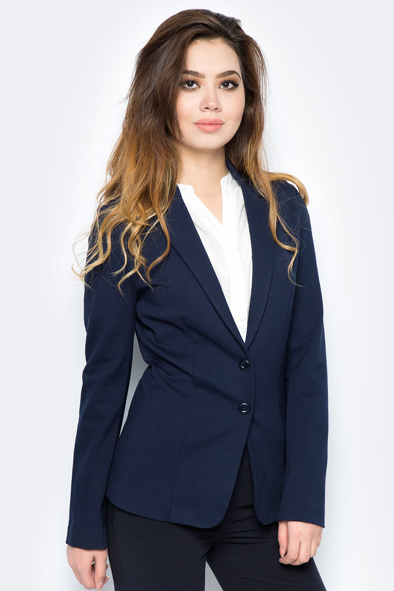 Пиджак женский United Colors of Benetton, цвет: темно-синий. 2DI4522A5_06U. Размер 482DI4522A5_06UПиджак женский United Colors of Benetton выполнен из качественного материала. Модель с лацканами застегивается пуговицы.