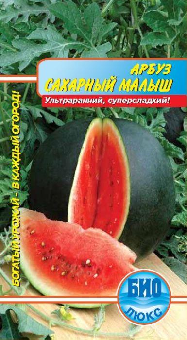 Семена Аэлита Арбуз. Сахарный малыш4601729012891Очень популярный, интенсивно растущий, ультраранний сорт, от всходов до начала плодоношения 75-80 дней. Плоды круглые, темно-зеленые, с более темными полосами, массой 3-5 кг. Мякоть ярко-красная, нежная, очень сладкая. В средней полосе благодаря своей скороспелости, плоды успевают созревать даже в открытом грунте. Посев на рассаду в начале мая. Высадка рассады в открытый грунт в конце мая - начале июня (через 30-35 дней после всходов, в фазе 3-4-х настоящих листьев). Схема посадки 100х100 см. В южных регионах можно выращивать путем прямого посева в грунт в апреле-мае. При выращивании под пленочными укрытиями растения формируют в один стебель (удаляют все боковые побеги до высоты 50 см, последующие прищипывают над 1-3 листом), подвязывают к шпалере (плоды нужно подвешивать в сетках). Возможно выращивание в свободной культуре в расстил. Для хорошего роста и обильногоплодоношения растениям необходим своевременный полив, регулярная прополка, рыхление и подкормка минеральными удобрениями.Товар сертифицирован.Уважаемые клиенты! Обращаем ваше внимание на то, что упаковка может иметь несколько видов дизайна. Поставка осуществляется в зависимости от наличия на складе.