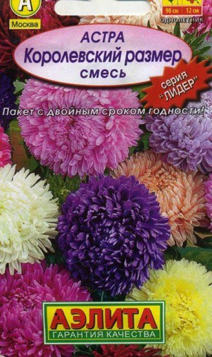 Семена Аэлита Астра. Королевский размер4601729020810Великолепная серия крупноцветковых астр универсального назначения на срезку и для украшения цветников. Формирует пышный, пирамидальный куст высотой 90-100 см. Соцветия густомахровые, полусферической формы, диаметром более 12 см, на длинных, прочных цветоносах. Цветет обильно, длительно - с начала августа до устойчивых заморозков. Обладает сравнительно высокой устойчивостью к болезням.Посев. Выращивают рассадным способом. С развитием первой пары настоящих листочков сеянцы пикируют. На постоянное место рассаду высаживают в возрасте 30-35 дней. Возможен посев семян в открытый грунт весной или под зиму, в конце октября, на глубину 0,5-1 см. Растениям необходимы регулярные поливы, прополки, рыхления и подкормки. Уважаемые клиенты! Обращаем ваше внимание на то, что упаковка может иметь несколько видов дизайна. Поставка осуществляется в зависимости от наличия на складе.