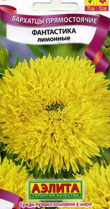 Семена Аэлита Бархатцы лимонные. Фантастика4601729065279Высокорослые бархатцы с оригинальными крупными густо-махровымисоцветиями-корзинками (9-11 см).Кустыпрочные, ветвистые, высотой до 70 см, свыраженным главным побегом и множеством цветоносов. Цветение ранее, сначала июня, обильное и продолжительное. Каждое соцветие не теряет своейдекоративности до двух недель. Растения неприхотливые, свето- итеплолюбивые, засухоустойчивые, хорошо переносят воздействие ветра и дождя.Используются для групповых и одиночных посадок на клумбах, в цветниках ирабатках. Отлично подходят для срезки.Выращивают рассадным способом. Посев проводят в первой половине апреля. Всходы появляются через 4-8 дней после посева, сеянцы пикируют в фазе 1-2-хнастоящих листьев. Рассаду высаживают в конце мая-начале июня. Возможенпосев семян в открытый грунт в мае на глубину 1,5-2 см. Уважаемые клиенты! Обращаем ваше внимание на то, что упаковка может иметьнесколько видов дизайна. Поставка осуществляется в зависимости от наличия наскладе.