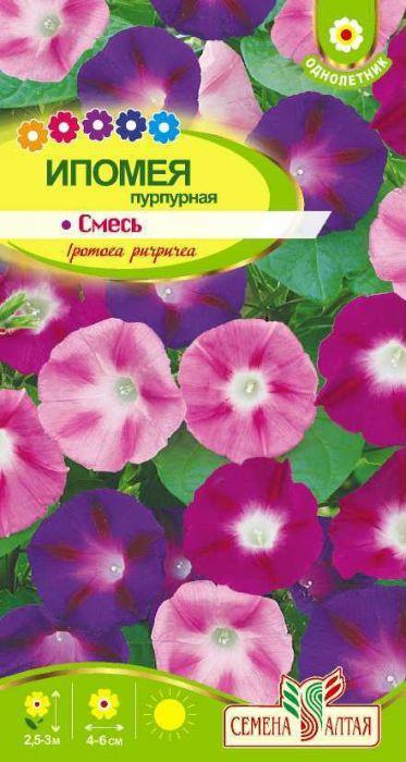 Семена Алтая Ипомея пурпурная. Смесь4601729080456Быстрорастущая однолетняя травянистая лиана, достигающая 2,5-3 м в высоту. Великолепное украшение сада, одно из лучших растений для вертикального озеленения. Контрастно и очень эффектно смотрятся крупные (4-6 см диаметром) воронковидные цветки малиновой, розовой, сине-фиолетовой и лиловой окраски на фоне ярко-зеленых сердцевидных листьев. Цветет в солнечную погоду с июля до осенних заморозков.Тепло- и влаголюбивое растение, предпочитает солнечные, но защищенные от зноя места на участках с богатой рыхлой суглинистой почвой. Семена перед посевом замачивают на 2-3 часа в горячей воде или перетирают с песком. Высевают либо в открытый грунт в мае, либо на рассаду в торфяные стаканчики в апреле. Рассаду в открытый грунт высаживают в конце мая-июне, не нарушая целостности кома земли.Уважаемые клиенты! Обращаем ваше внимание на то, что упаковка может иметь несколько видов дизайна. Поставка осуществляется в зависимости от наличия на складе.