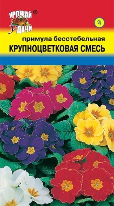 Семена Урожай удачи Примула бесстебельная. Крупноцветковая смесь4607127334498Крупные яркие цветки на коротких цветоножках переливаются всеми цветами радуги. Растение высотой 12-15 см. В центре каждого цветка – желтый глазок. Розетка продолговатых светло-зеленых, морщинистых листьев служит фоном. Цветет с апреля почти 50 дней. Используют для бордюров, клумб, в миксбордерах, альпинариях. Эффектно выглядит под деревьями и кустарниками.Агротехника: Растение зимостойкое. Предпочитает затененные места с легкими питательными дренированными почвами. На одном месте растет 5-7 лет. Размножают осенним или весенним посевом семян в открытый грунт. При температуре почвы +16-18°C всходы появляются на 16-18 день. Расстояние между растениями 10-15 см.Уважаемые клиенты! Обращаем ваше внимание на то, что упаковка может иметь несколько видов дизайна. Поставка осуществляется в зависимости от наличия на складе.