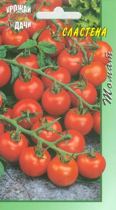 Семена Урожай удачи Томат. Сластена4607127335709Очень вкусные и сладкие плоды. Для пленочных теплиц и защищенного грунта. Среднеспелый высокоурожайный сорт. Период от всходов до начала плодоношения 95-105 дней. Растение индетерминантное, средневетвистое. Формируют в один стебель. Кисти хорошо выполнены, 15-20 плодов в кисти. Плоды округлые, плотные, однородные, красные. Масса 30-35 г. Устойчив к комплексу болезней. Рекомендуется для употребления в свежем виде и консервирования.Агротехника: Для томата пригодны нетяжелые, высоко плодородные почвы. Хорошие предшественники - огурцы, капуста, бобовые, лук, морковь. На рассаду семена высевают в конце марта - начале апреля на глубину 2-3 см. Перед посевом семена обрабатывают в марганцовке и промывают чистой водой. Пикировка - в фазе 1-2 настоящих листьев. Рассаду подкармливают 2-3 раза полным удобрением. За 7-10 дней перед высадкой рассаду начинают закалять. В открытый грунт рассаду высаживают в возрасте 55-70 дней, когда минует угроза заморозков (для Нечерноземной зоны - 5-10 июня). Схема посадки 70 х 30 - 40 см. Густота посадки: детерминантные сорта 7-9 растений на 1 кв.м, индетерминантные сорта - 3-4 растения на 1 кв.м. В дальнейшем растения регулярно поливают. Для полива используют теплую воду. В течение вегетации применяют 2-3 подкормки растений. Низкорослые томаты в основном не требуют пасынкования и подвязки.Уважаемые клиенты! Обращаем ваше внимание на то, что упаковка может иметь несколько видов дизайна. Поставка осуществляется в зависимости от наличия на складе.