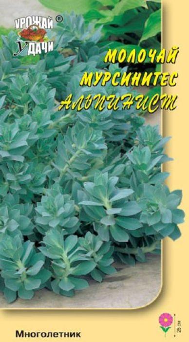 Семена Урожай удачи Молочай. Мурсинитес Альпинист4607127337635Великолепное растение для альпинариев и композиций с камнями. Декоративно-лиственное растение с полустелющимися побегами высотой до 25 см. Листья ромбические голубовато-серые, зимующие плотно черепитчато покрывают стебли. Цветет в мае-июне, но цветы не несут основного декоративного назначения. Используют в композициях с камнями, альпинариях и на подпорных стенках.Агротехника: Предпочитает солнечное местоположение, может расти и в легкой полутени. Почва любая, но лучшего развития достигает на легких питательных почвах. Семена сеют в марте в рассадные ящики, слегка присыпают землей, 7 дней выдерживают при +10°C, далее содержат при +20°C, всходы появляются через 14-20 дней. Рассаду в грунт высаживают по окончании возвратных весенних заморозков. Расстояние между растениями 30 см.Уважаемые клиенты! Обращаем ваше внимание на то, что упаковка может иметь несколько видов дизайна. Поставка осуществляется в зависимости от наличия на складе.