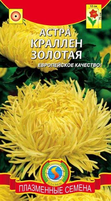Семена Плазмас Астра. Краллен Золотая4607171980153Растение пирамидальной формы, высотой 70 - 80 см, формирует несколькоупругих прочных цветоносов. Соцветия плотные, махровые, золотисто-желтые,диаметром 10-13 см, состоят из длинных, скрученных в тонкие трубки и красивозавитых по спирали язычковых цветков, прикрывающих небольшой диск измелких желтых трубчатых цветков. Астры этой серии великолепны длягрупповых посадок и срезки.ПОСЕВ: на рассаду март-апрель. Семена слегка присыпают землей. Полив -только теплой водой. Посевы выращивают при температуре 15-18°С. Споявлением первой пары настоящих листьев сеянцы пикируют по схеме 6 х 6 см.Перед высадкой рассады в открытый грунт в конце мая, ее закаливают втечение 1-2 недель, снизив температуру до 10°С. Предпочитает солнечное,защищенное от ветра место, с плодородными, известкованными, хорошодренированными, но без свежего навоза почвами. Расстояние междурастениями - 35-40 см для высокорослых сортов, и 20 см для низкорослых.Возможна посадка семенами сразу в открытый грунт (под плёнку) в конце апреляс последующим прореживанием всходов.УХОД: редкий, обильный полив. Рекомендуется частое, осторожное рыхление.Необходима подкормка минеральными удобрениями в период бутонизации.ЦВЕТЕНИЕ:с июля по сентябрь.Уважаемые клиенты! Обращаем ваше внимание на то, что упаковка может иметьнесколько видов дизайна. Поставка осуществляется в зависимости от наличияна складе.