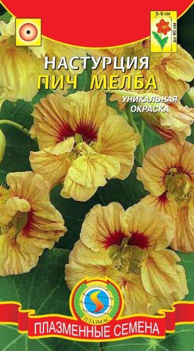 Семена Плазмас Настурция. Пич мелба4607171982126Компактное красивое травянистое растение (высотой до 40 см) с яркими цветками с тонким приятным ароматом. Цветки полумахровые и махровые, персиково-кремовые с красными пятнами в центре. Растение свето- и теплолюбиво. Очень декоративно смотрится при оформлении балконов, оконных ящиков, клумб и бордюров.ПОСЕВ: в открытый грунт в конце мая по схеме 25 х 30 см. Глубина заделки семян 1,5 см. Настурция предпочитает умеренно плодородную, легкую, хорошо дренированную почву. Перед посевом семена замачивают на сутки.УХОД: полив в начале роста, а после зацветания при сильном усыхании почвы. Подкормки проводить лишь до цветения с интервалом 7-10 дней раствором комплексного минерального удобрения.Внимание! При внесении свежих органических удобрений, избытке азота и влаги растение развивает мощную зелёную массу и слабо цветет.ЦВЕТЕНИЕ: с июня до заморозков.Уважаемые клиенты! Обращаем ваше внимание на то, что упаковка может иметь несколько видов дизайна. Поставка осуществляется в зависимости от наличия на складе.