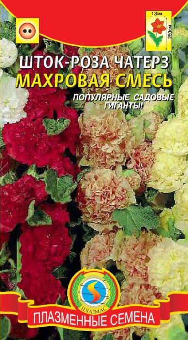 Семена Плазмас Шток-роза махровая. Чатерз. Смесь4607171982782Популярные садовые великаны. Растение вырастают в высоту до 250 см.Крупные (до 13 см в диаметре), густомахровые, разнообразных ярких окрасокцветки собраны в гигантские соцветия - кисти и сплошь покрывают высокие,сильные цветоносы и на протяжении нескольких месяцев будут радовать вассвоей красотой. Используют для небольших групп на газоне, декорированияизгородей, стен и на срезку. Срезать растения лучше на стадиинераспустившегося бутона.ПОСЕВ: май-июнь в грунт, или на рассаду в парник. Глубина заделки семян 0,3- 0,5 см. На постоянное место рассаду высаживают в августе-сентябре по схеме40 х 50 см. Растение любит открытые солнечные места с глубокообработанными, плодородными, дренированными почвами. При посеве в концезимы (выращивается через рассаду) - цветет летом в первый год.УХОД: в первый год подкармливают азотными удобрениями, во второй год -фосфорно-калийными. В сухую погоду растения поливают. На зиму можно укрытьеловым лапником и подвязать высокие цветоносы летом. После цветенияцветоносы обрезают до высоты 30 см или удаляют совсем.ЦВЕТЕНИЕ: июнь-сентябрь (второй год).Уважаемые клиенты! Обращаем ваше внимание на то, что упаковка может иметьнесколько видов дизайна. Поставка осуществляется в зависимости от наличияна складе.