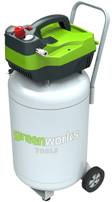Компрессор электрический Greenworks вертикальный, 1500W, 8 bar 41019074101907• 132 л/мин • Безмасляный • Быстроразъемное соединение штуцеров • Индукционный двигатель 2 л.с. • Работа от сети 220В• Индукционный двигатель 2 л.с.• Мощность 1500Вт• Безмасляный• Объем ресивера 50 л • 132 л/мин• Макс. давление 8 бар• Быстроразъемное соединение штуцеров • Гарантия 2 года