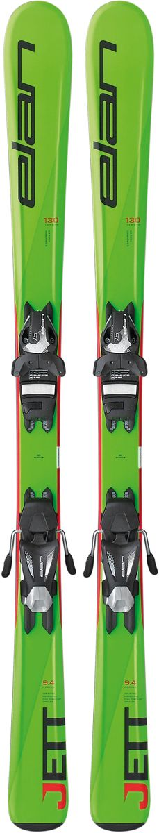 Лыжи горные детские Elan Jett QS, с креплениями, цвет: зеленый, рост 140 смXF2BMV16+DB865816Jett - самые инновационные детские лыжи на рынке благодаря технологии U-Flex. U-Flex позволяет детям использовать гибкость лыжи на 100%, прогибая их в центральной части достаточно для того, чтобы осваивать даже карвинг с первых поворотов.Революционная конструкция повышает гибкость лыж на 25%. Эти лыжи идеально дополнены специальными детскими ботинками, сделанными из мягкого, также, более податливого пластика. На этих лыжах легко учиться, и они чутко реагируют на перекантовку. Дизайн Jett - как у взрослых лыж серии Precision.Технические особенности:U-FlexU-Flex В детских моделях Elan применяется технология U-Flex, благодаря которой лыжи мягче на 25% по сравнению со средним значением в своей категории. Легкий сердечник Synflex, конструкция Full Power Cap и профиль Early Rise Rocker - все это в сочетании с технологией U-Flex позволяет осваивать детям резаные повороты буквально с первого дня. Эта уникальная патентованная технология способствует быстрому прогрессу и большему удовольствию от катания.Early Rise RockerEarly Rise Rocker Early Rise Rocker - это то, что позволяет лыжам Elan прописывать плавные дуги без лишних усилий. Все благодаря умеренному рокеру в носке и пятке, что делает лыжи очень игривыми, послушными и универсальными.Quick ShiftQuick Shift Quick Shift System - это полностью интегрированная конструкция платформа-в-платформе. В производстве этой платформы применяются легкие композитные материалы, ее невысокая жесткость идеально повторяет прогиб лыж с технологией U-Flex для максимальной послушности.Full Power CapFull Power Cap Full Power Cap - традиционная кэп-конструкция, очень легкая, маневренная и прощающая.Synflex CoreSynflex Core Syn?ex Core - это сердечник из композитных материалов с оптимальным распределением жесткости. Плотность материала сердечника изменяется по длине лыж, что позволяет создавать лыжи с выдающимися характеристиками.FiberglassFiberglass Усил