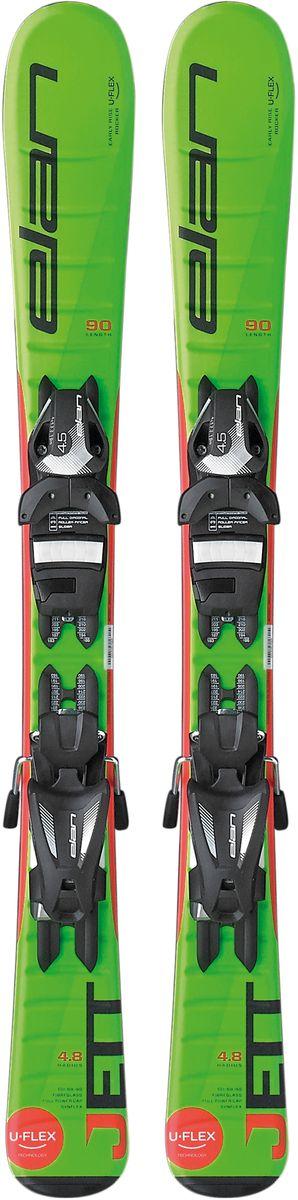 Лыжи горные детские Elan Jett QS, с креплениями, цвет: зеленый, рост 70 см