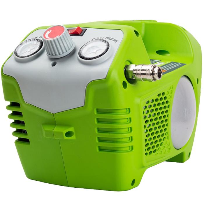 Компрессор аккумуляторный Greenworks 40V 41008024100802 БезмасляныйБыстроразъемное соединение штуцеровСверхмощная аккумуляторная система 40В G-MAX40 Безмасляный Объем ресивера 2 лМакс. давление 8 барБыстроразъемное соединение штуцеров Работает с аккумуляторами Greenworks G-MAX40 (арт. 29717, 29727) и зарядным устройством G40C (арт. 29417) Гарантия 2 года