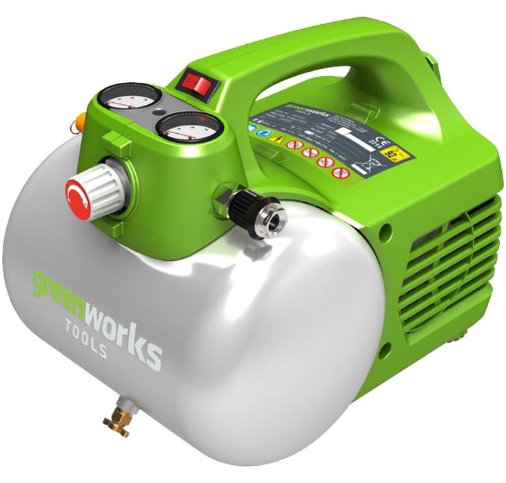 Компрессор электрический Greenworks, 300W, 6 л 4101302 предохранительный клапан для воздуха челябинск