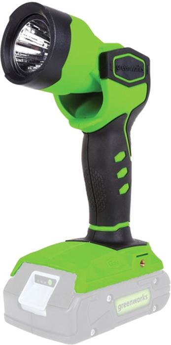 Фонарь аккумуляторный Greenworks 24V 35005073500507 Поворотный рефлекторМощный светодиодКрепление на ременьВремя работы до 20 часов на одном заряде аккумулятора Аккумуляторная система 24В G24Поворотный рефлекторМощный светодиодКрепление на ременьВремя работы до 20 часов на одном заряде аккумулятораРаботает с аккумуляторами Greenworks G24 (арт. 2902707, 2902807) и зарядным устройством G24С (арт. 2903607)Гарантия 2 года