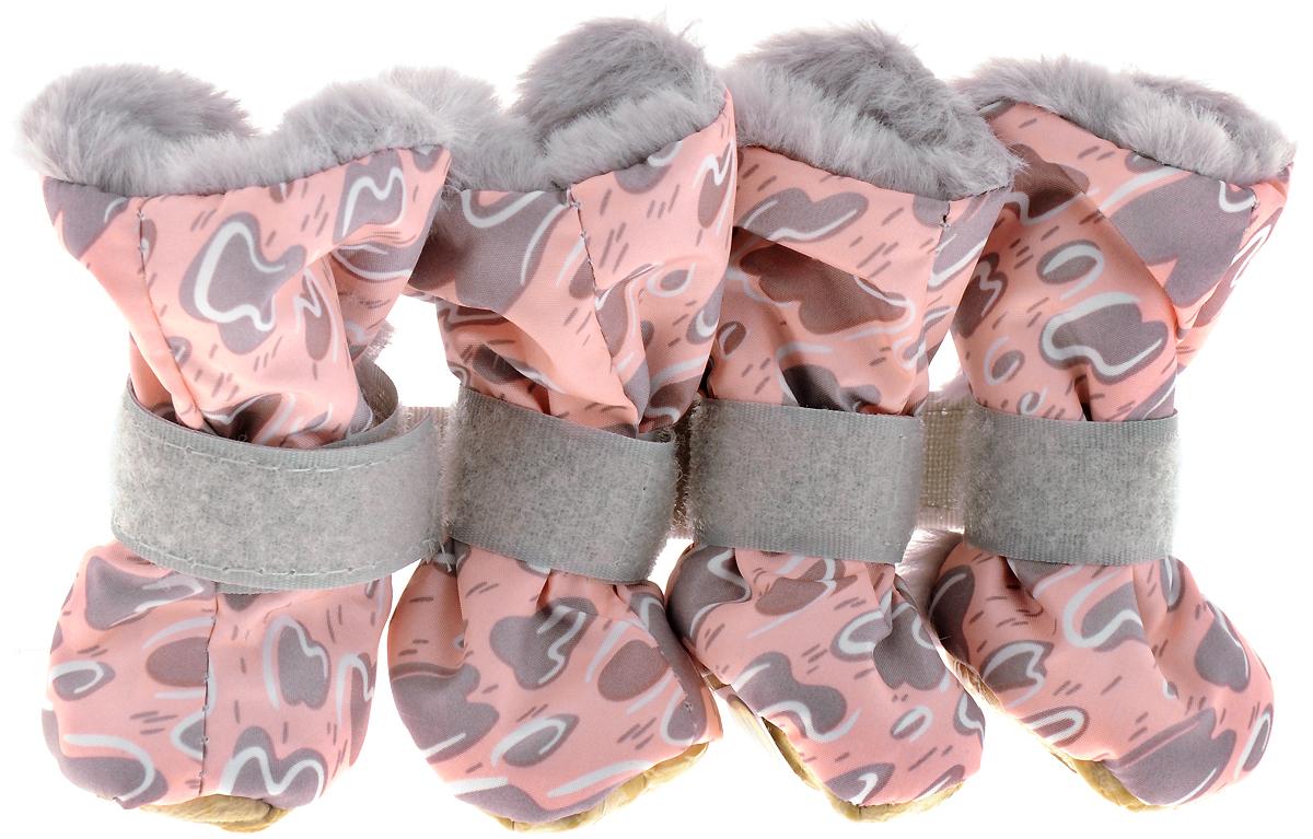 Ботинки для собак  OSSO Fashion , на меху, для девочки, цвет: серый, розовый. Размер M - Одежда, обувь, украшения
