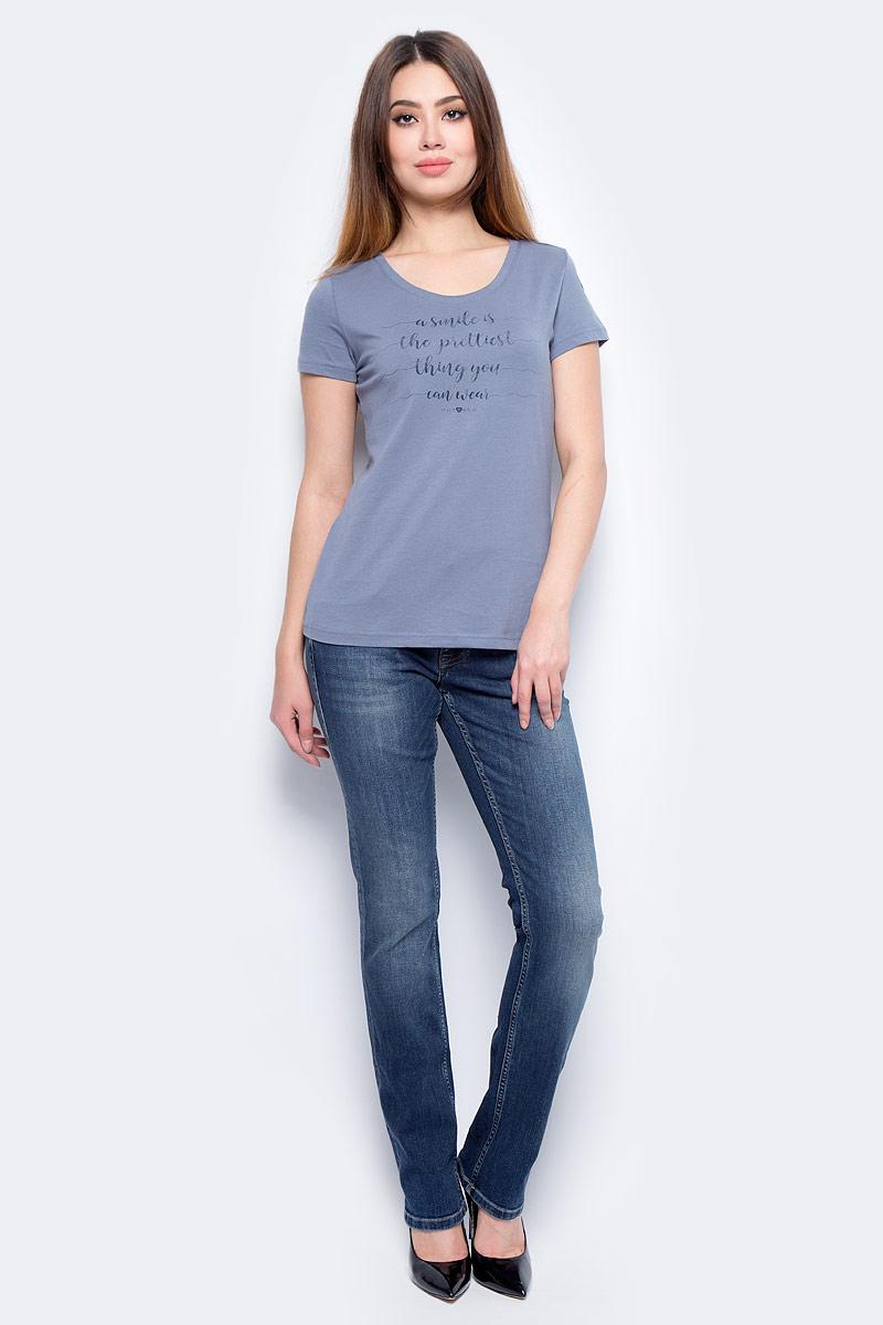 Футболка женская Mustang Blurred Line Tee, цвет: синий. 7501-1603-566_5308. Размер M (46) футболка мужская mustang building tee цвет серо бежевый 7022 1603 674 6290 размер xl 52