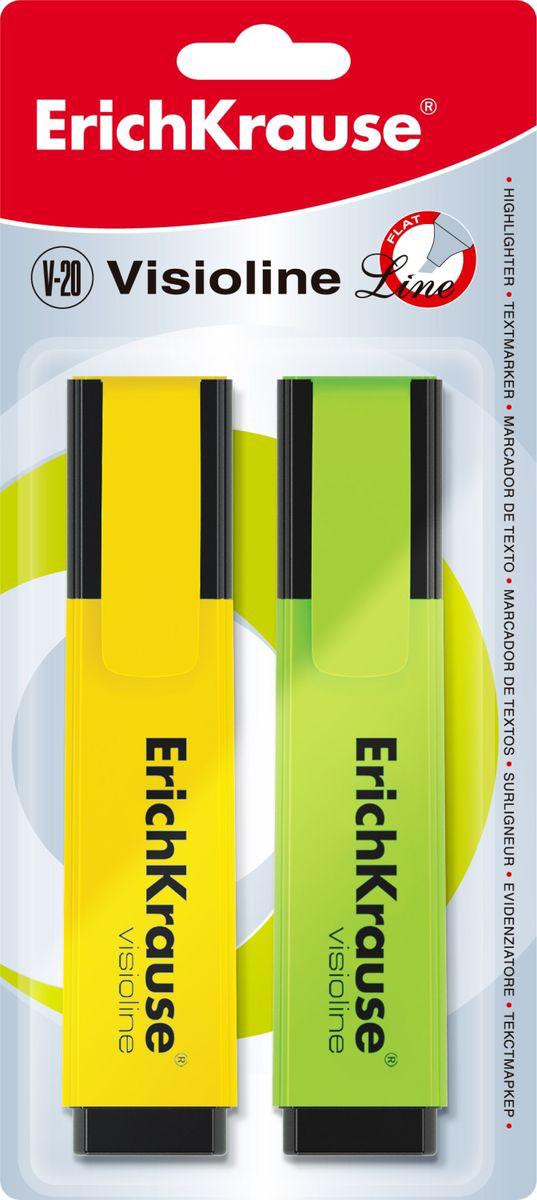 Erich Krause Набор маркеров Visioline V-20 2 шт 3095730957Набор из 2х маркеров, цвет: желтый+зеленый. Маркер для выделения текста предназначен для работы на всех типах бумаги, в том числе на бумаге для факсов и копировальных машин.Скошенный пишущий узел позволяет варьировать ширину письма. Широкое перо 5. 2 мм удобно для выделения текста, а тонкое 0. 6 мм – для подчеркивания. Длина непрерывной линии 673 м. Флуоресцентные чернила на водной основе. Быстро высыхают после нанесения. Не просвечиваются через бумагу.