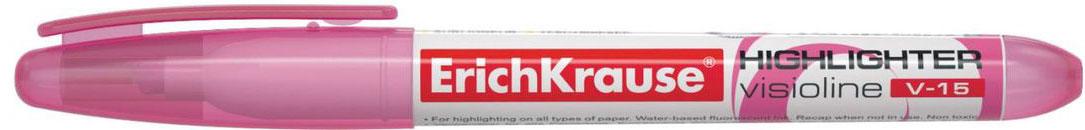 Erich Krause Маркер Visioline V-15 розовый 3096730967Современный, эргономичной формы маркер для выделения текста. Предназначен для работы на всех типах бумаги, в том числе на бумаге для факсов и копировальных машин. Имеет клип для переноски. Скошенный пишущий узел позволяет варьировать ширину письма. Широкое перо 4. 0 мм удобно для выделения текста, а тонкое 0. 56 мм – для подчеркивания. Длина непрерывной линии 848 м. Флуоресцентные чернила на водной основе. Быстро высыхают после нанесения. Не просвечиваются через бумагу.