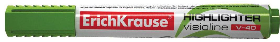 Erich Krause Маркер Visioline V-40 зеленый 3097530975Заправляемый маркер для выделения текста предназначен для работы на всех типах бумаги, в том числе на бумаге для факсов и копировальных машин. Предназначендля стационарной работы в офисе и дома, удобен для мобильного использования. Имеет клип для переноски. Скошенный пишущий узел позволяет варьироватьширину письма. Широкое перо 5. 2 мм удобно для выделения текста, а тонкое 0. 6 мм – для подчеркивания. Длина непрерывной линии 653 м. Флуоресцентные чернилана водной основе. Рекомендуется использовать запасные картриджи с чернилами для текстмаркеров ErichKrause.