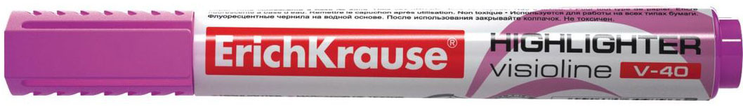 Erich Krause Маркер Visioline V-40 фиолетовый 3097930979Заправляемый маркер для выделения текста предназначен для работы на всех типах бумаги, в том числе на бумаге для факсов и копировальных машин. Предназначен для стационарной работы в офисе и дома, удобен для мобильного использования. Имеет клип для переноски. Скошенный пишущий узел позволяет варьировать ширину письма. Широкое перо 5. 2 мм удобно для выделения текста, а тонкое 0. 6 мм – для подчеркивания. Длина непрерывной линии 653 м. Флуоресцентные чернила на водной основе. Рекомендуется использовать запасные картриджи с чернилами для текстмаркеров ErichKrause.