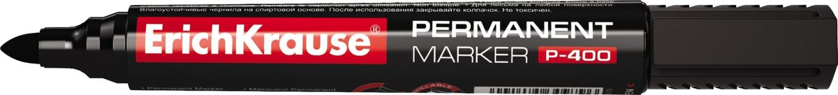 Erich Krause Маркер перманентный P-400 черный 3098630986Цвет маркера-черный. Перманентный маркер предназначен для офисного, складского и домашнего использования. Имеет клип для переноски. Используется для маркировки и письма практически на всех поверхностях: бумага, картон, стекло, пластик, фарфор, керамика, дерево и др. Наконечник пулевидной формы, устойчивый к повреждению и истиранию. Ширина письма – 0. 8-2. 2 мм. Длина письма – 976 м. Чернила на спиртовой основе, водостойкие, светостойкие, стойкие к ультрафиолетовым лучам. Быстро высыхают после нанесения. Нетоксичные. Не содержат ксилол. Стабильное письмо при снижении давления (в самолете). Заправляемый