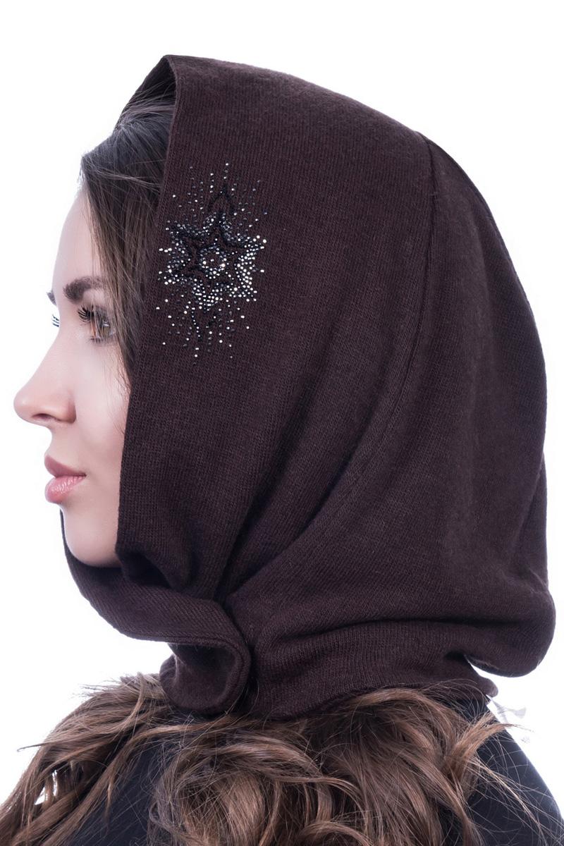 Шапка-капюшон женская Level Pro Флорант , цвет: темно-коричневый. 998468. Размер 56/59998468Вязаная шапка-капюшон Level Pro Флорант отлично дополнит ваш образ в холодную погоду. Модель выполнена извысококачественной пряжи. Изделие украшено узором из стразов.Такая шапка-капюшон станет модным и стильным дополнением вашего гардероба, в ней вам будет уютно и тепло!