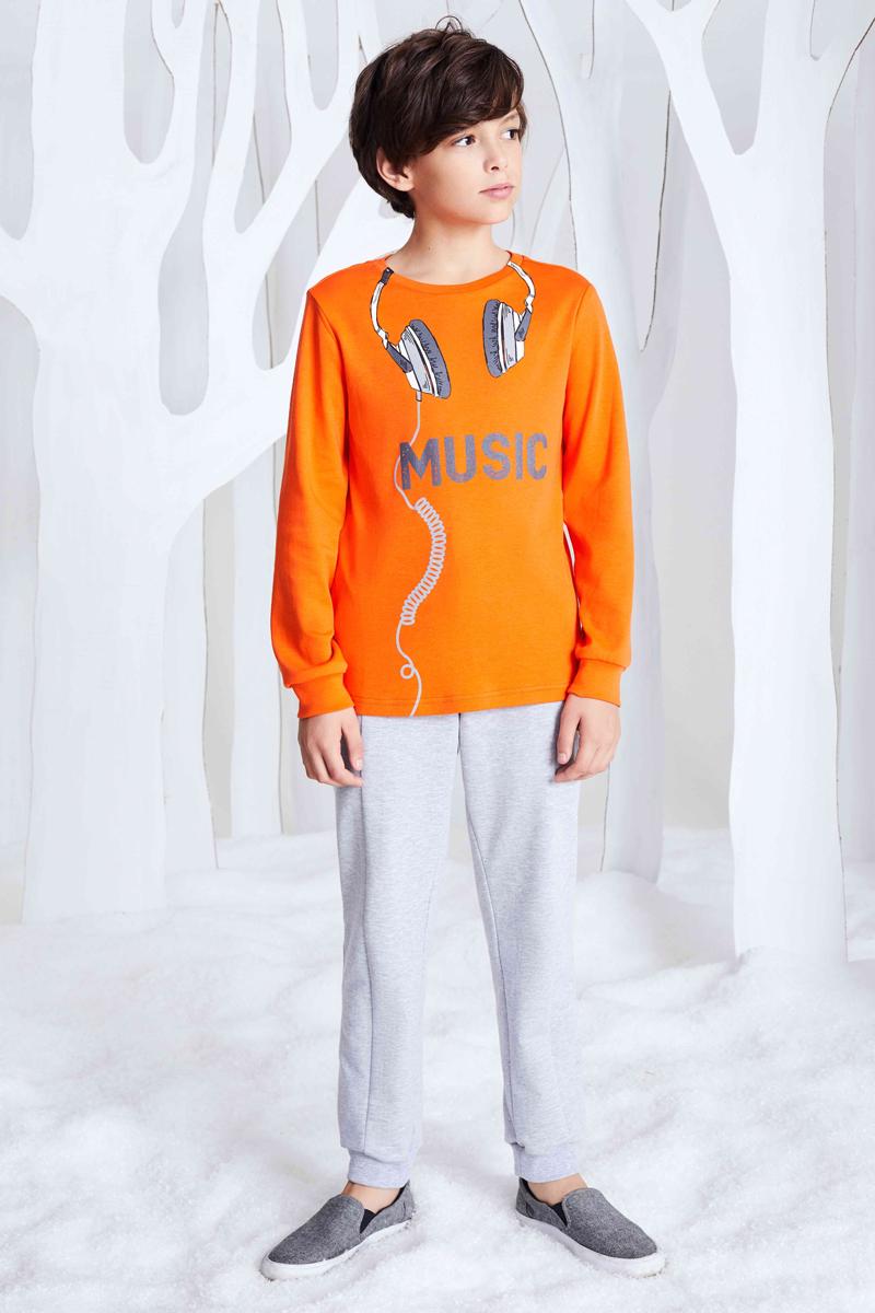 Джемпер для мальчика Смена, цвет: оранжевый. 17с259. Размер 110/11617с259Трикотажная толстовка из хлопка с круглым вырезом и длинными рукавами с манжетами. Перед декорирован принтом.