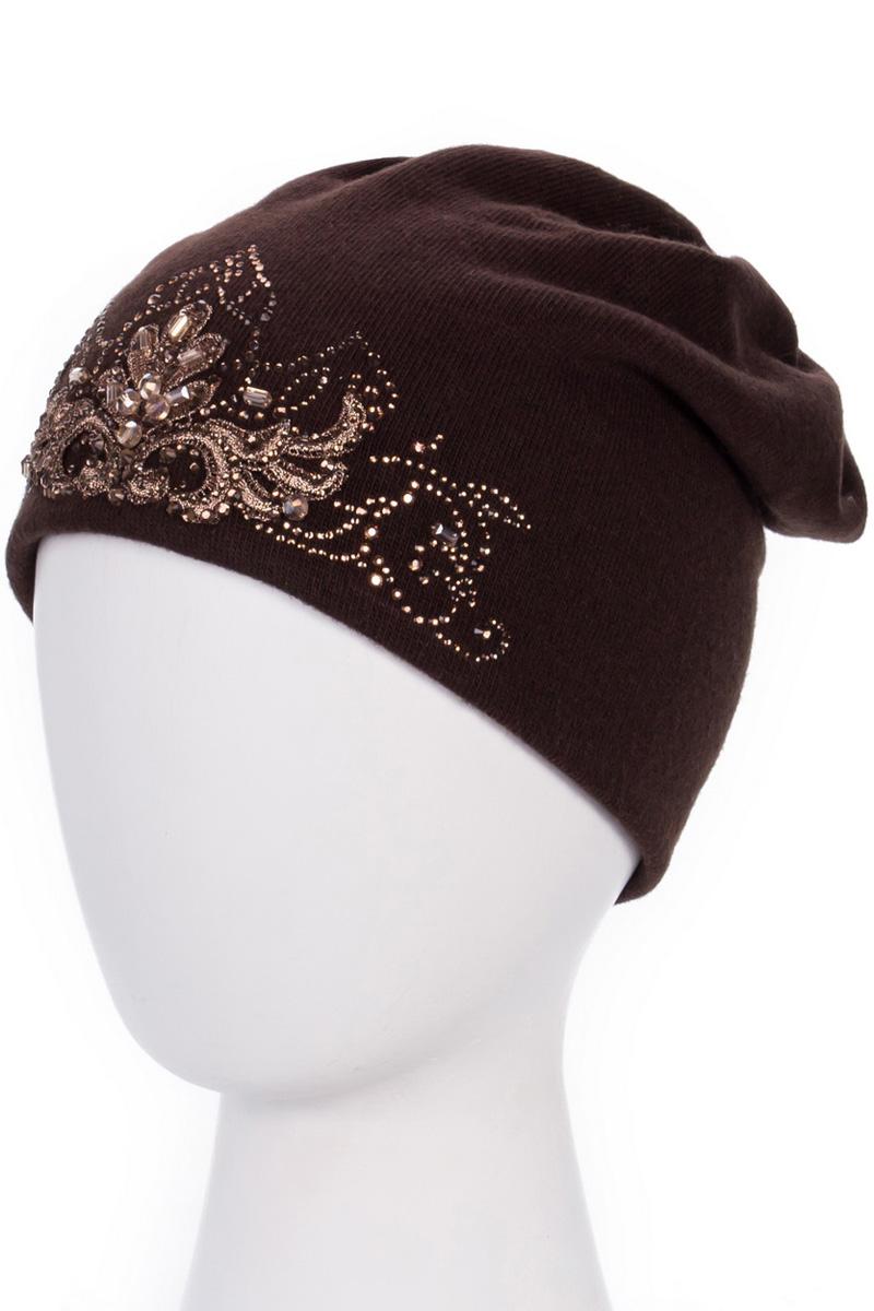 Шапка женская Level Pro Кристина, цвет: темно-коричневый. 998089. Размер 56/58998089Стильная женская шапка Level Pro дополнит ваш наряд и не позволит вам замерзнуть в холодное время года. Шапка на флисовой подкладке выполнена из пряжи сложного состава с содержанием шерсти и акрила, что позволяет ей великолепно сохранять тепло и обеспечивает высокую эластичность и удобство посадки. Изделие оформлено вышивкой и стразами. Такая шапка составит идеальный комплект с модной верхней одеждой, в ней вам будет уютно и тепло.