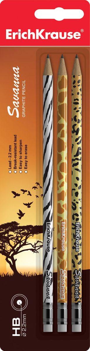 Erich Krause Набор карандашей чернографитных Savanna с ластиком 3 шт 3286432864Набор из 3х чернографитных карандашей. Круглый карандаш с оригинальным рисунком на корпусе. 3 дизайна ассорти: жираф, зебра, гепард. Карандаш оснащен ластиком.Прочный неломающийся грифель. Диаметр грифеля 2. 2 мм, твердость HB.