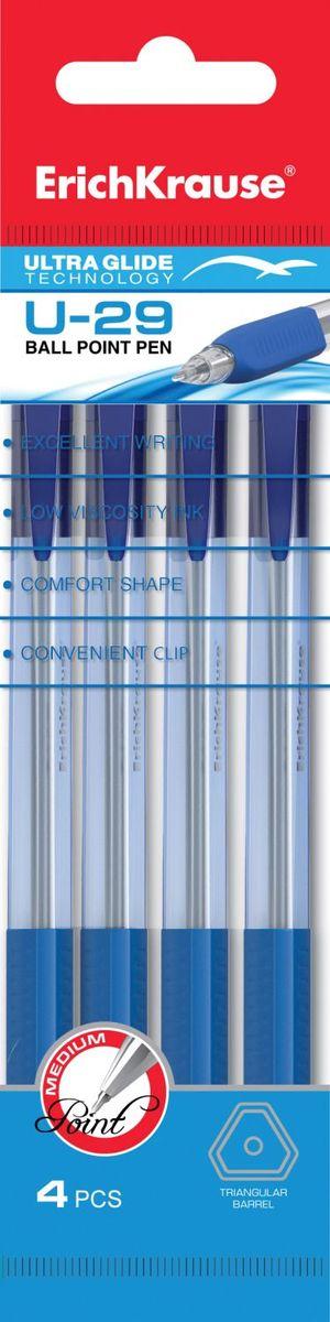 Erich Krause Набор шариковых ручек Ultra Glide Technology U-29 4 шт 3357233572Набор из 4-х ручек, цвет чернил: синий. Автоматическая ручка с уникальной технологией Ultra Glide, обеспечивающей мягкое письмо. Прозрачный треугольный корпус ручки с мягким резиновым грипом. Цвет грип зоны и клипа соответствует цвету чернил. Пишущий узел 0. 6 мм. Толщина линии 0. 32 мм.Длина письма 1000 м.
