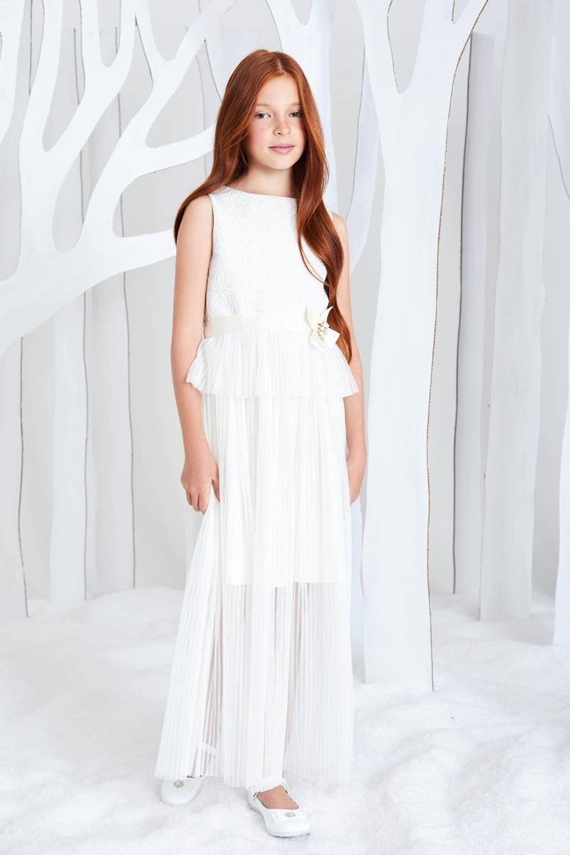 Платье для девочки Смена, цвет: молочный. 17с601. Размер 140/146 цена