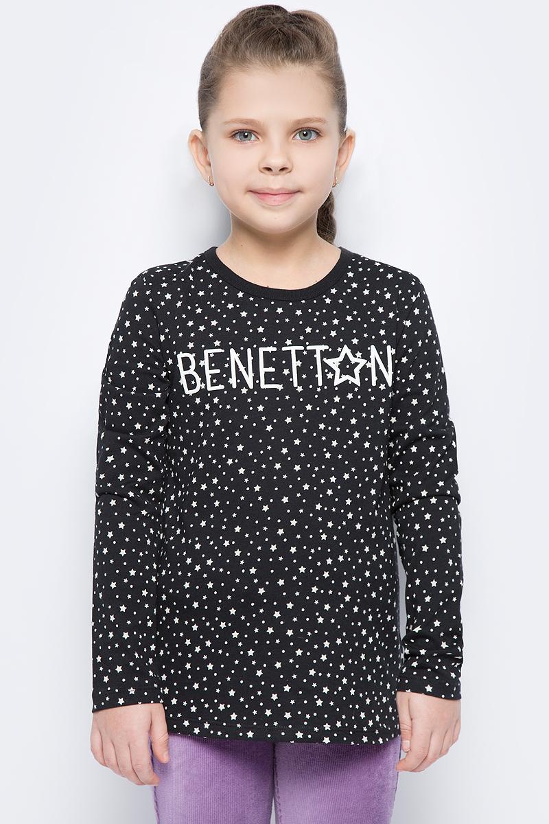 Фото Лонгслив для девочки United Colors of Benetton, цвет: черный. 3DY0C12VD_921. Размер 150