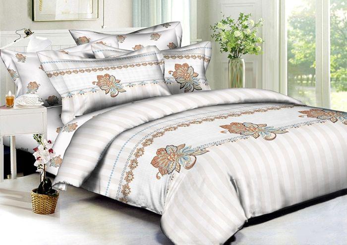 Комплект белья Soft Line, семейный, наволочки 50х70, цвет: белый. 60136013Постельное белье SL из сатина с декоративной отделкой