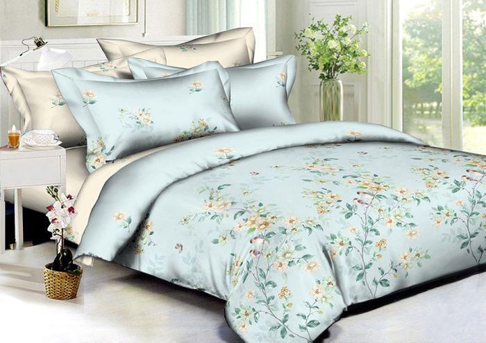 Комплект белья Soft Line, семейный, наволочки 50х70, цвет: голубой. 60176017Постельное белье SL из сатина с декоративной отделкой
