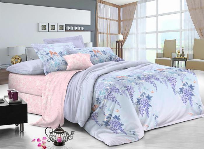 Комплект белья Soft Line, семейный, наволочки 50х70, цвет: голубой. 60256025Постельное белье SL из сатина с декоративной отделкой