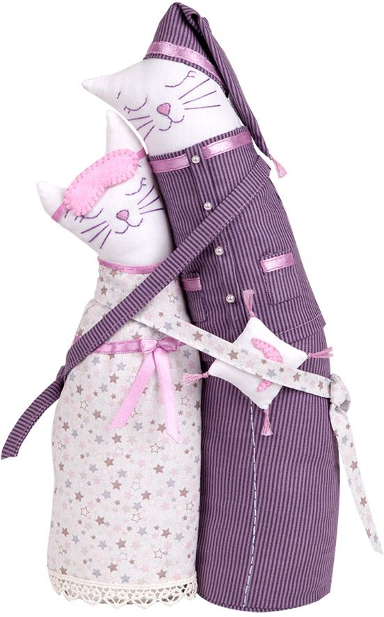 Набор для создания игрушки Miadolla  Коты-обнимашки пижамные , высота 29 см - Игрушки своими руками